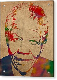 Nelson Mandela Watercolor Portrait On Worn Distressed Canvas Acrylic Print by Design Turnpike