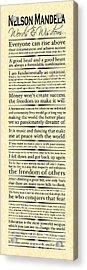 Nelson Mandela Words And Wisdom - Vertical Acrylic Print