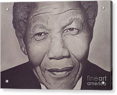 Nelson Mandela Acrylic Print by Wil Golden