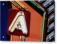 Acrylic Print featuring the photograph Neon A - Aztec Theater by Daniel Woodrum