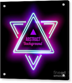 Neon Abstract Triangle. Glowing Frame Acrylic Print