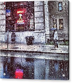 Neon And Rain Acrylic Print by Toni Martsoukos