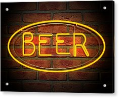 Neon Beer Sign On A Face Brick Wall Acrylic Print by Allan Swart