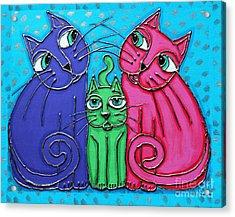 Neon Cat Trio #2 Acrylic Print
