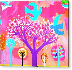Neon Colored Birds And Flowering Trees Acrylic Print by Christopher Corr