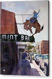 Neon Cowboy Acrylic Print by Kris Parins