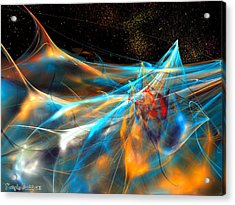Neon Dolphins In The Atlantic Night. 2013 80/60 Cm.  Acrylic Print by Tautvydas Davainis