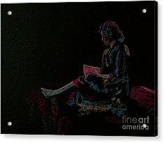 Neon Girl With Book Acrylic Print by Diane Phelps