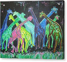 Acrylic Print featuring the painting Neon Longnecks by Diane Pape