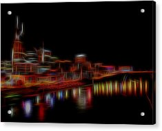Neon Nashville Skyline At Night Acrylic Print by Dan Sproul