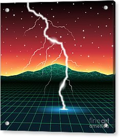 Neon New Retro Wave Landscape With Acrylic Print