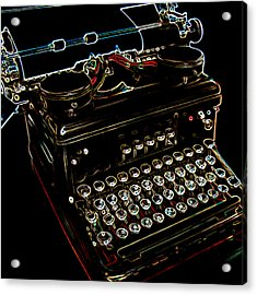 Neon Old Typewriter Acrylic Print by Ernie Echols