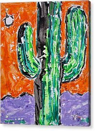 Neon Saguaro Cactus Limited Edition Poster Christmas Card Acrylic Print