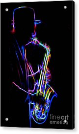 Acrylic Print featuring the photograph Neon Sax by Mark Miller