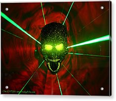 Neon Skull Acrylic Print by The GYPSY And DEBBIE