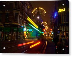 Acrylic Print featuring the photograph Neon Tram Leidestraat by Jonah  Anderson