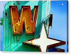 Neon W - The West Theater Acrylic Print by Daniel Woodrum