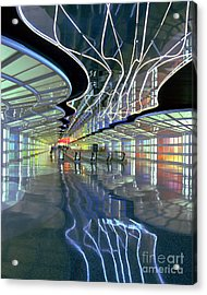Neon Walkway At Ohare Acrylic Print
