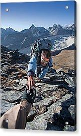 Nepali Sherpa Climbing In Himalayas Acrylic Print by Hadynyah