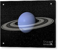 Neptune And Its Rings Against A Starry Acrylic Print by Elena Duvernay