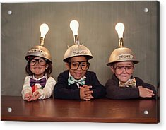 Nerd Children Wearing Lighted Mind Acrylic Print by Richvintage