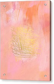 Nest- Pink And Gold Abstract Art Acrylic Print