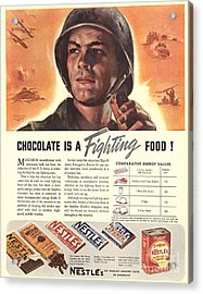 Nestle�s 1940s Usa Propaganda Chocolate Acrylic Print by The Advertising Archives