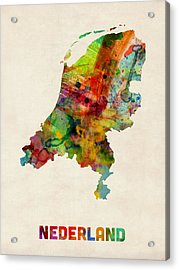 Netherlands Watercolor Map Acrylic Print by Michael Tompsett