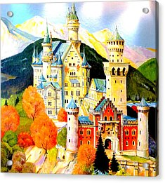 Neuschwanstein Castle In The Fall Acrylic Print by The Creative Minds Art and Photography