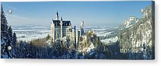 Neuschwanstein Castle Panorama In Winter 2 Acrylic Print