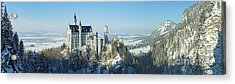 Neuschwanstein Castle Panorama In Winter Acrylic Print by Rudi Prott