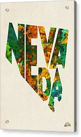 Nevada Typographic Watercolor Map Acrylic Print by Ayse Deniz