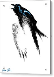 Acrylic Print featuring the digital art Nevermore  - Raven by Aaron Blaise