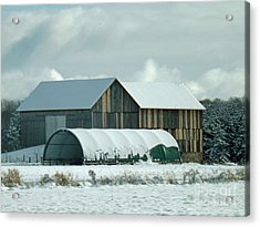 Acrylic Print featuring the photograph New And Old Barn Planks by Brenda Brown