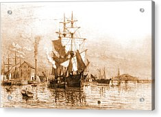 New Bedford Harbor 1903 Acrylic Print by Padre Art