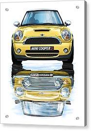 New Bmw Mini Cooper S Yellow Acrylic Print