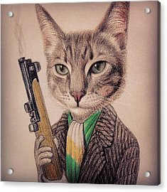 New Color Pencil Animal Cat Drawing Acrylic Print by Wind Z