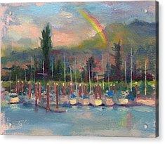 New Covenant - Rainbow Over Marina Acrylic Print by Talya Johnson