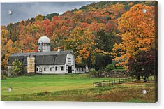 New England Barn Autumn Acrylic Print by Bill Wakeley