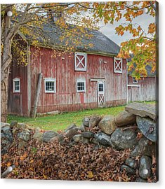 New England Barn Square Acrylic Print by Bill Wakeley