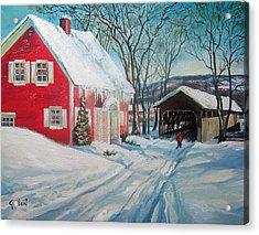 New England Covered Bridge Acrylic Print by Brett Gordon