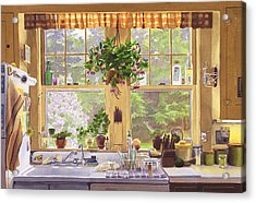 New England Kitchen Window Acrylic Print by Mary Helmreich