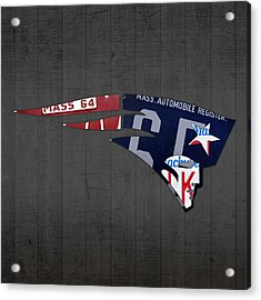 New England Patriots Football Team Retro Logo Massachusetts License Plate Art Acrylic Print by Design Turnpike