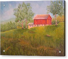 New England Red Barn At Sunrise Acrylic Print by Pamela Allegretto
