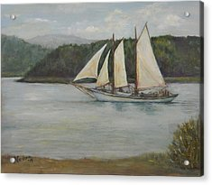 Acrylic Print featuring the painting New England Schooner by Sandra Nardone