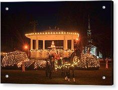 New England Town Common Holiday Scene Acrylic Print by John Burk