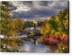 New England Town In Autumn Acrylic Print by Joann Vitali