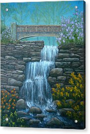 New England Waterfall Acrylic Print by Pamela Allegretto