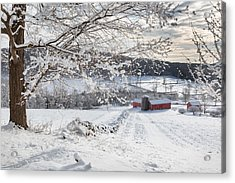 New England Winter Farms Acrylic Print by Bill Wakeley