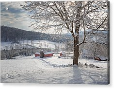 New England Winter Farms Morning Acrylic Print by Bill Wakeley